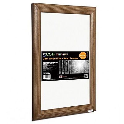 "Seco® Front Load Easy Open Snap Poster Frame, 18"" x 24"", Dark Wood Effect (SN1824DW)"