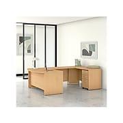 "Bush Business Furniture Studio C 59"" U-Shaped Desk with Mobile File Cabinet, Natural Maple (STC005ACSU)"