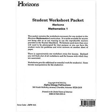 Alpha Omega Publications Horizons Math 1 Worksheet Packet (APOP204)