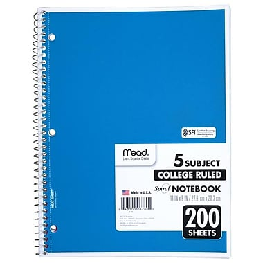 Meadwestvaco Consumer & Office Products Spiral Notebook, 5 Subject, College Ruled, 200 Sheets, Assorted Colors (CLDST30400)