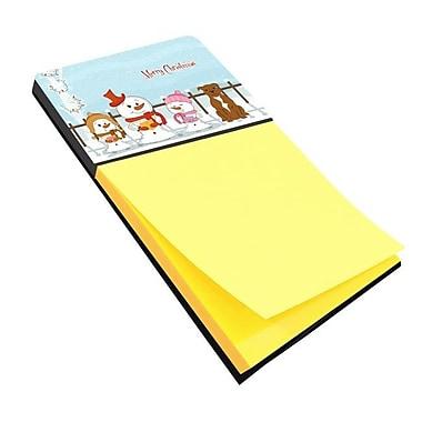 Carolines Treasures Merry Christmas Carolers Staffordshire Bull Terrier Brown Sticky Note Holder (CRLT118428)