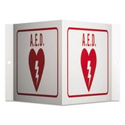 Quartet Red & White Projecting 3-Way Sign, AED - 6 x 9 in. (AZTY11614)