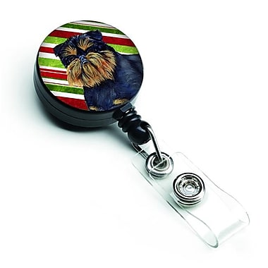 Carolines Treasures Brussels Griffon Candy Cane Holiday Christmas Retractable Badge Reel (CRLT127763)