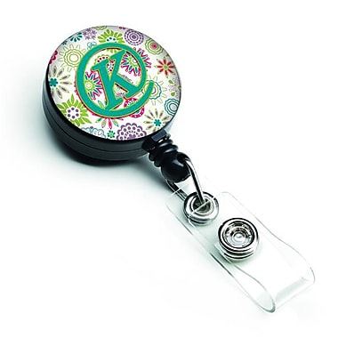 Carolines Treasures Letter K Flowers Pink & Teal Green Initial Retractable Badge Reel (CRLT127303)