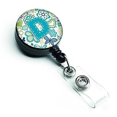 Carolines Treasures Letter D Flowers & Butterflies Teal Blue Retractable Badge Reel (CRLT127573)