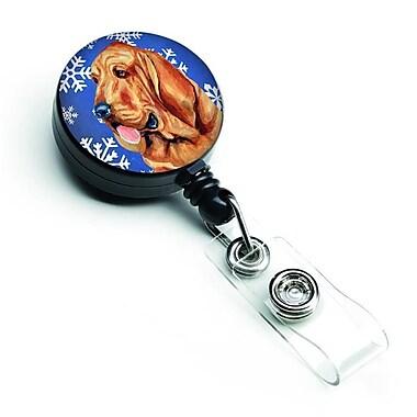 Carolines Treasures Bloodhound Winter Snowflakes Holiday Retractable Badge Reel (CRLT127739)
