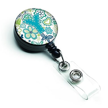 Carolines Treasures Letter Y Flowers & Butterflies Teal Blue Retractable Badge Reel (CRLT127222)