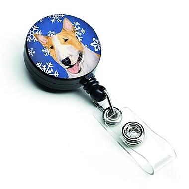 Carolines Treasures Bull Terrier Winter Snowflakes Holiday Retractable Badge Reel (CRLT128133)