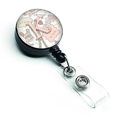 Carolines Treasures Letter K Love in Paris Pink Retractable Badge Reel (CRLT127465)