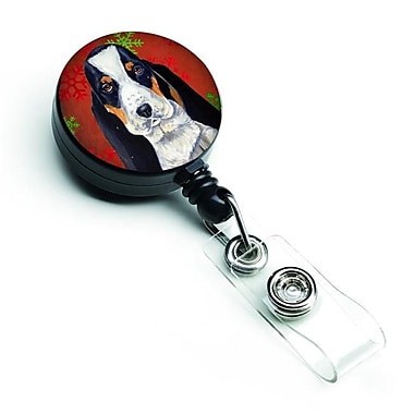 Carolines Treasures Basset Hound Red & Green Snowflakes Holiday Christmas Retractable Badge Reel (CRLT127678)