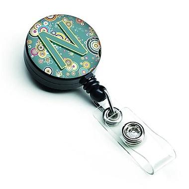 Carolines Treasures Letter N Circle Circle Teal Initial Alphabet Retractable Badge Reel (CRLT127401)