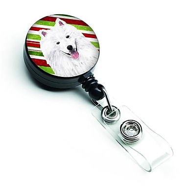 Carolines Treasures American Eskimo Candy Cane Holiday Christmas Retractable Badge Reel (CRLT127994)