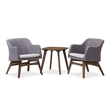 Baxton Studio Vera 23.62'' W x 24.8'' D Living Room Set, Gray (7178-7179-STPL)