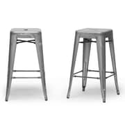 Baxton Studio French 16.25'' W x 16.25'' D Bar Stool, Gun Metal (4635-2PC-STPL)
