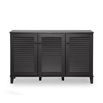 Baxton Studio Warren 44.5'' W x 14.63'' D Storage Cabinet, Dark Brown (5307-STPL)