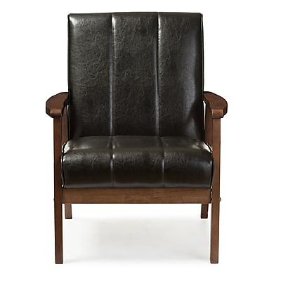 Baxton Studio Nikko 25.35'' W x 29.45'' D Accent Chair, Black (6744-STPL)