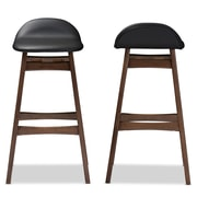 Baxton Studio Bloom 18.33'' W x 19.89'' D Bar Stool, Black (6797-2PC-STPL)