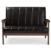 Baxton Studio Nikko 44.66'' W x 29.45'' D Loveseat, Dark Brown (6747-STPL)