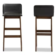 Baxton Studio Loft 15.99'' W x 12.87'' D Bar Stool, Black (6945-2PC-STPL)