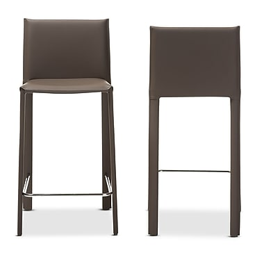 Baxton Studio Crawford 20.09'' W x 15.6'' D Bar Stool, Taupe (6661-2PC-STPL)
