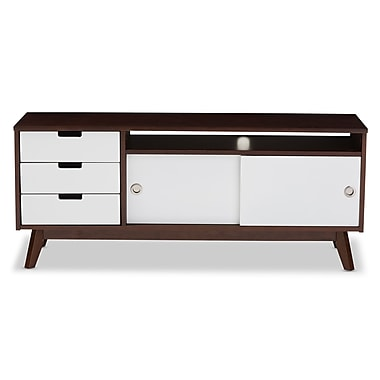 Baxton Studio Alphard 46.8'' W x 13.65'' D TV Stand, Brown and White (6539-STPL)