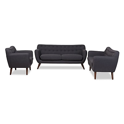Baxton Studio Harper 68.9'' W x 28.35'' D Living Room Set, Dark Gray (7234-7238-STPL)