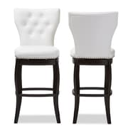 Baxton Studio Leonice 19.5'' W x 23.79'' D Bar Stool, White (6824-2PC-STPL)