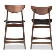 Baxton Studio Latina 18.72'' W x 19.89'' D Bar Stool, Black (6800-2PC-STPL)