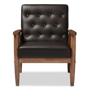 Baxton Studio Sorrento 27.11'' W x 29.45'' D Accent Chair, Dark Brown (6765-STPL)