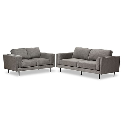 Baxton Studio Brittany 85.83'' W x 37.4'' D Living Room Set, Gray (7338-7339-STPL)
