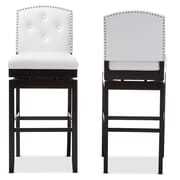 Baxton Studio Ginaro 18.33'' W x 21.65'' D Bar Stool, White (6751-2PC-STPL)