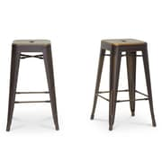Baxton Studio French 16.25'' W x 16.25'' D Bar Stool, Antique Copper (5169-2PC-STPL)
