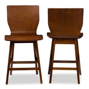 Baxton Studio Elsa 18.72'' W x 21.26'' D Bar Stool, Brown (6621-2PC-STPL)
