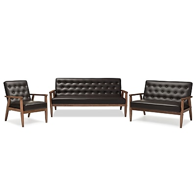 Baxton Studio Sorrento 70.59'' W x 29.45'' D Living Room Set, Dark Brown (6765-6771-STPL)