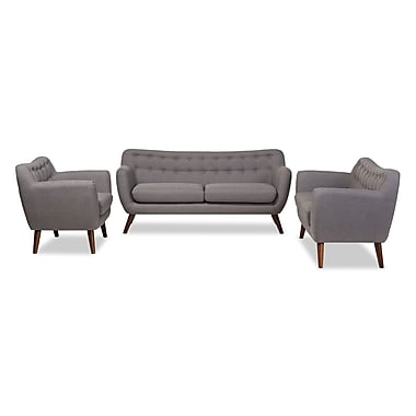 Baxton Studio Harper 68.9'' W x 28.35'' D Living Room Set, Light Gray (7235-7239-STPL)