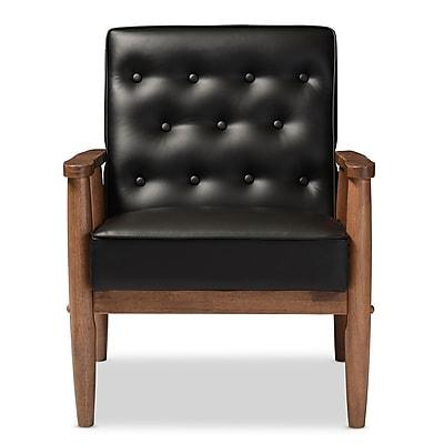 Baxton Studio Sorrento 27.11'' W x 29.45'' D Accent Chair, Black (6764-STPL)