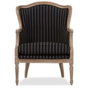 Baxton Studio Charlemagne 26.8'' W x 26'' D Accent Chair, Black and Gray Stripes (5488-STPL)