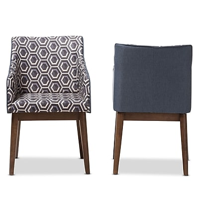 Baxton Studio Reece 20.87'' W x 24.41'' D Accent Chair, Dark Blue Print (7182-2PC-STPL)