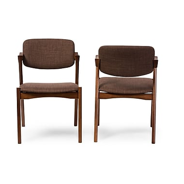 Baxton Studio Elegant Dining Chair, Brown, 2/Pack (6618-2PC-STPL)