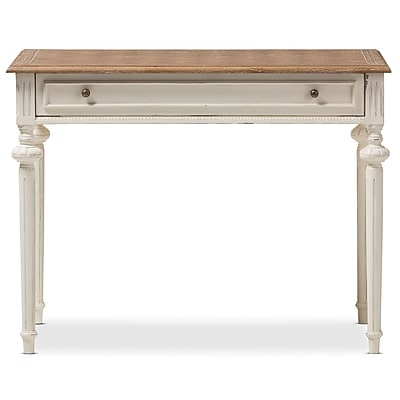 Baxton Studio Marquetterie 39.37'' W x 19.69'' D Desk, White and Light Brown (7191-STPL)