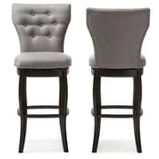 Baxton Studio Leonice 19.5'' W x 23.79'' D Bar Stool, Gray (6825-2PC-STPL)