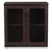 Baxton Studio Zentra 31.2'' W x 15.6'' D Storage Cabinet, Dark Brown (6494-STPL)