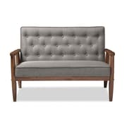 Baxton Studio Sorrento 48.95'' W x 29.45'' D Loveseat, Gray (6769-STPL)