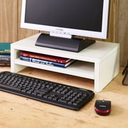 "Way Basics 16.7""W 2-Shelf Simple Computer Monitor Stand Riser, White (WB-STAND-2-WE)"