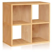 Way Basics Eco-Friendly 4 Cubby Bookcase, Stackable Organizer, Storage Shelf, Natural Wood Grain - Lifetime Guarantee