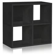 Way Basics Eco-Friendly 4 Cubby Bookcase, Stackable Organizer, Storage Shelf, Black Wood Grain - Lifetime Guarantee