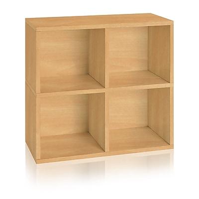 Way Basics 4 Cubby Eco Bookcase, Stackable Organizer and Storage Shelf 24.8
