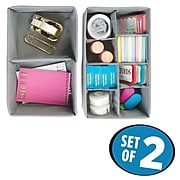 InterDesign Aldo Fabric Storage Organizer for Office Supplies, Set of 2, 10 Compartments, Gray (4853)