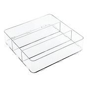 InterDesign Clarity Interlocking Drawer Organizer for Office or Vanity 3 Compartments, Medium, Clear (42310)