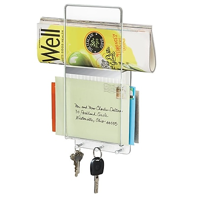 InterDesign Linus Mail, Letter Holder, Key Rack Organizer for Entryway, Kitchen - Wall Mount, Vertical, Clear/Chrome (50540)